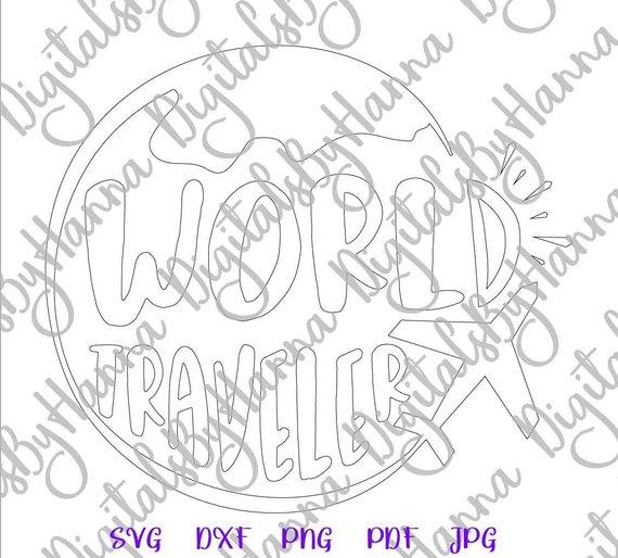 world traveler svg sign lettering word tee tshirt silhouette cut