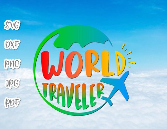 Wanderlust SVG Saying World Traveler Sign Lettering Tee tShirt Globe Plane Clipart