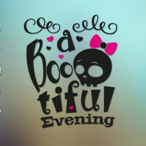 Happy Halloween SVG File for Cricut Saying Boo Tiful Evening Skull Girl Bow Sign