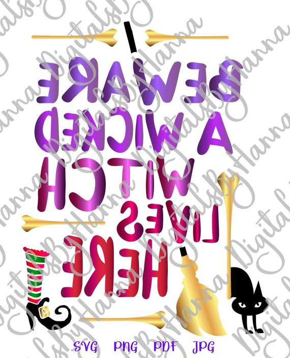 halloween svg beware wicked witch lives here cat broom print decoration sign