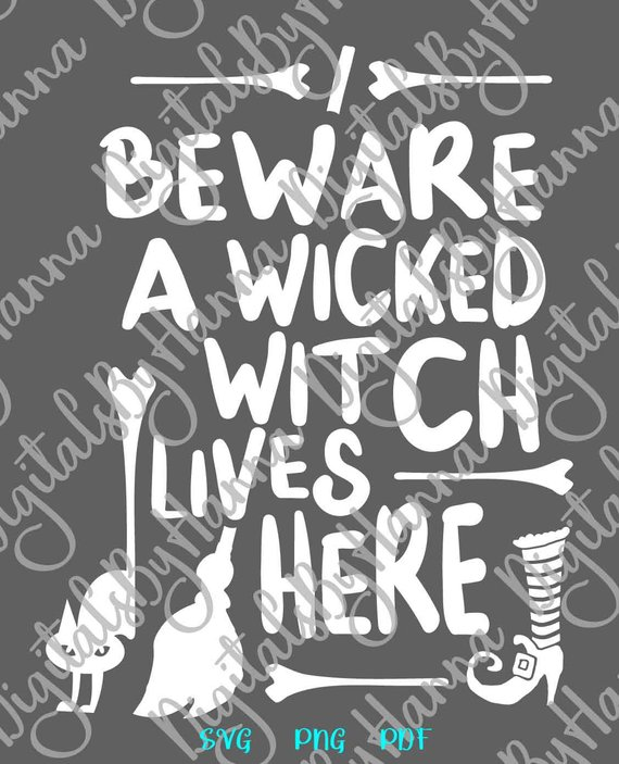 halloween svg beware wicked witch lives here cat broom print