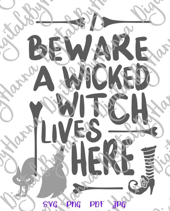 halloween svg beware wicked witch lives here quote decoration