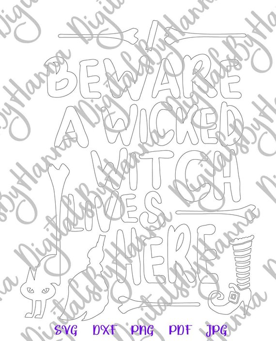 halloween svg beware wicked witch lives here silhouette cut