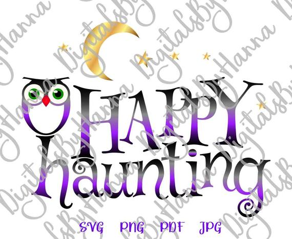 halloween svg happy haunting clipart moon star print decoration cut sign