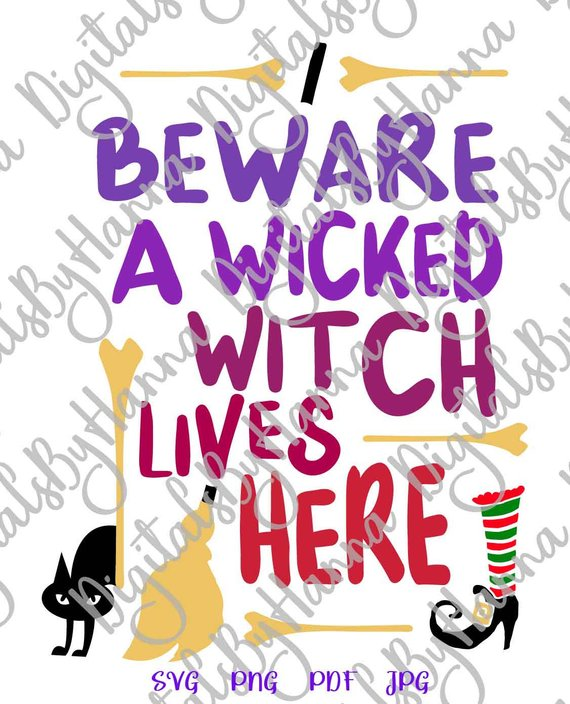 halloween svg saying beware wicked witch lives here svg cat broom decoration