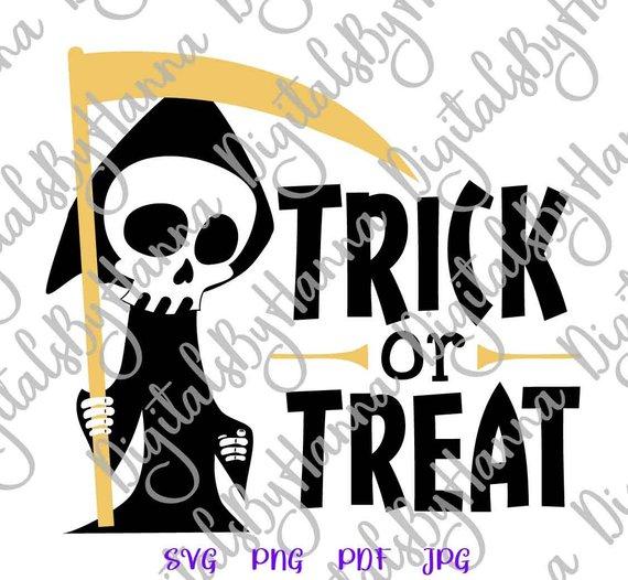 halloween svg saying trick or treat clipart skeleton print tshirt decoration sign