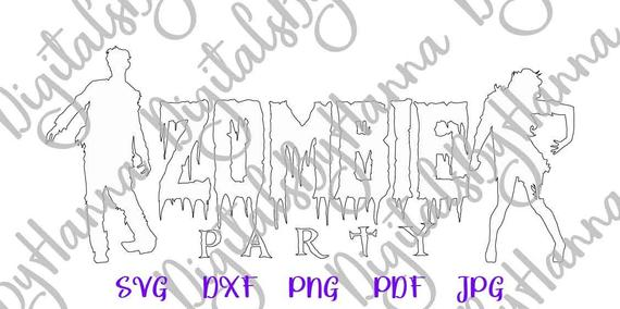 halloween svg zombie party sign clipart silhouette laser cut