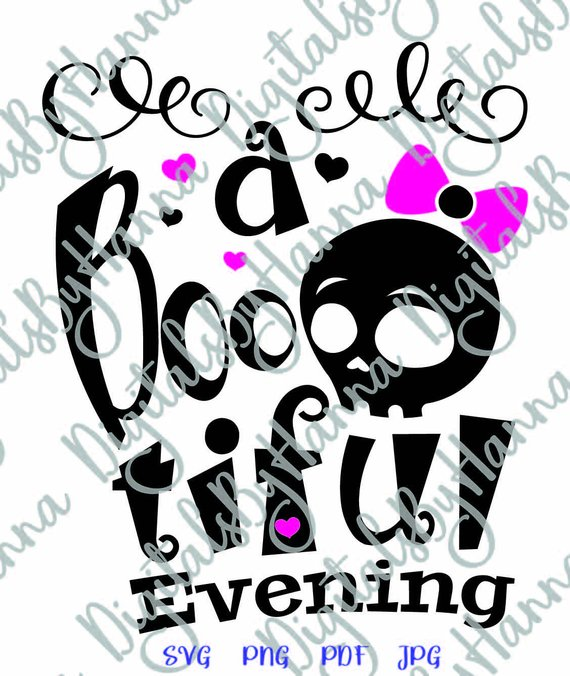 halloween vector clipart boo tiful evening skull girl bow print tshirt