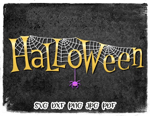 Happy Halloween SVG File for Cricut Spider Web Vector Clipart Gift Print Decoration