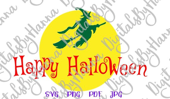 happy halloween svg file for cricut witch broom moon clipart decoration