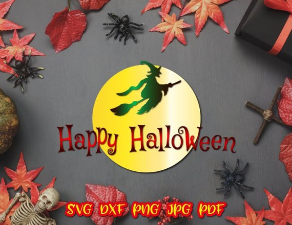Happy Halloween SVG File for Cricut Witch Broom Moon Clipart Lettering Decoration