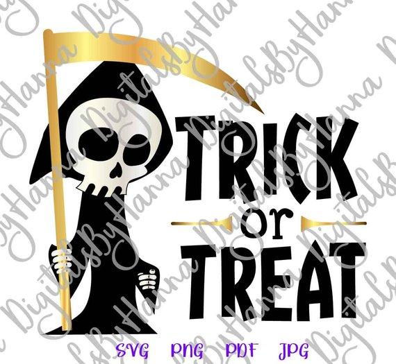 happy halloween svg file saying trick or treat grim reaper clipart skeleton tshirt