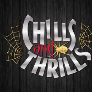 Happy Halloween SVG Chills and Thrills Spider Web Clipart Sign Print Silhouette cut