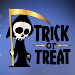 Halloween SVG Saying Trick or Treat Grim Reaper Clipart Skeleton Print Decoration