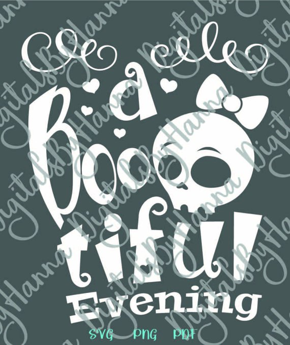 happy halloween svg saying boo tiful evening skull girl lettering print