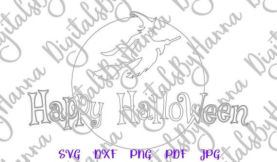 happy halloween svg witch broom moon clipart silhouette cut sign