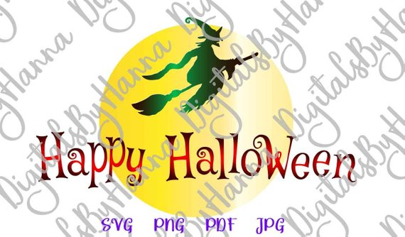 happy halloween svg witch broom moon vector clipart decoration
