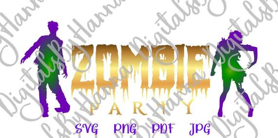 happy halloween svg zombie party lettering word print tee decoration silhouette