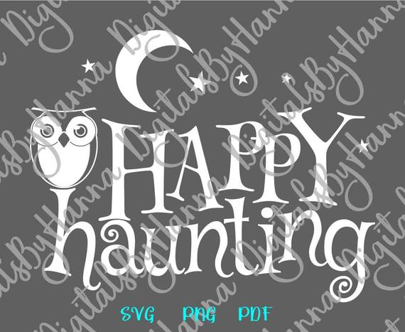 happy haunting svg owl clipart moon star word invitation print