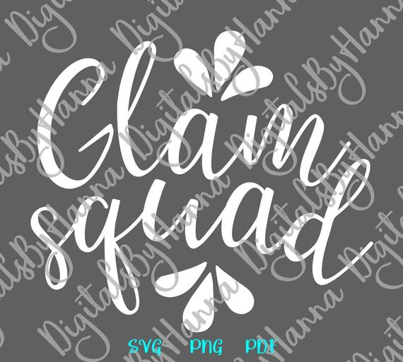 Cricut Glam Squad SVG Party Outfit Print Sign Word Glamour Hand Lettering