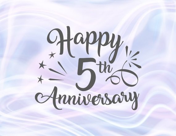 Happy 5th Anniversary SVG Wood Wedding Five Years Gift Greeting Invitation Cut Sign