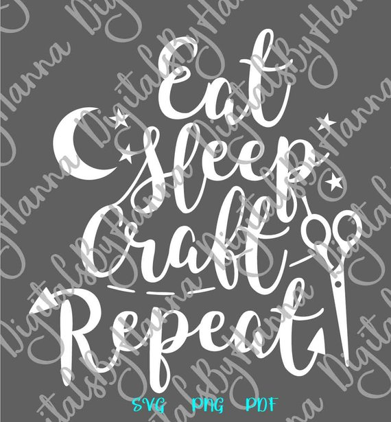 Quote SVG Files for Cricut Saying Eat Sleep Craft Repeat Sign Word Print Silhouette