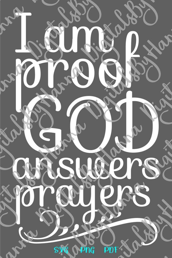 Rainbow Baby Saying I am Proof God Answers Prayers SVG Clothes Sign Word Print