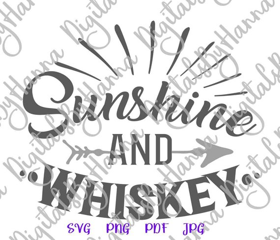 Sunshine and Whiskey SVG Alcohol Lover Gift Dad Glass Tee Word
