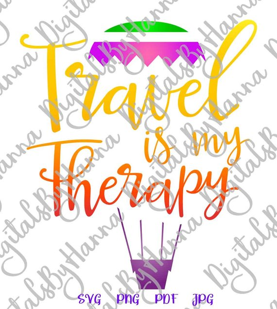 Wanderlust SVG Travel is My Therapy Camper Clipart Print