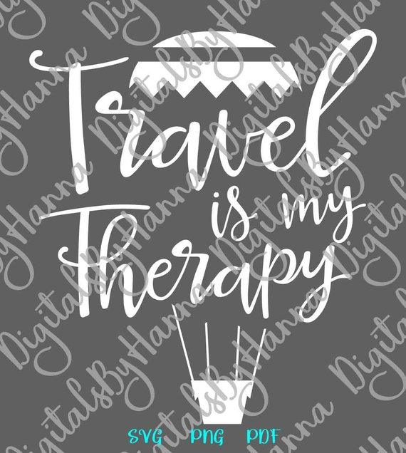 Wanderlust Travel is My Therapy SVG Camper Sign Clipart Print