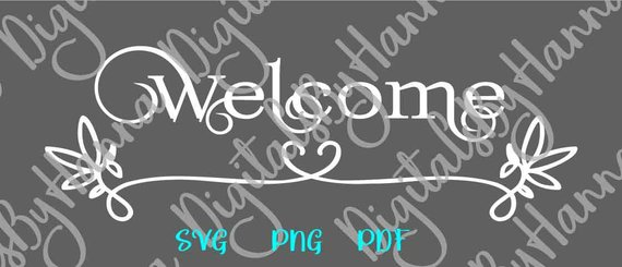 Welcome SVG Files Wedding Sign Front Door Clligraphy Hand Lettering Word