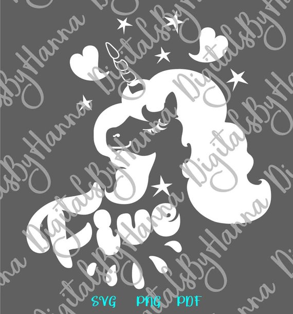 5th Birthday SVG Files for Cricut Saying Five Unicorn Invitation Sign Outfit Tshirt