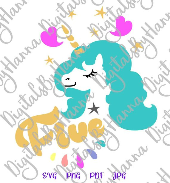 5th Birthday SVG Files for Cricut Saying Five Unicorn Invitation Sign Print Clipart