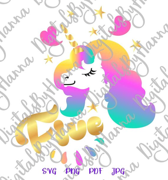 5th Birthday Saying Five Unicorn SVG Clipart Sign Outfit Word Print