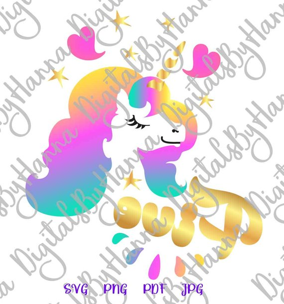 Five Unicorn SVG 5th Birthday Unicorn Face Head Year Invitation Print Tee Tshirt