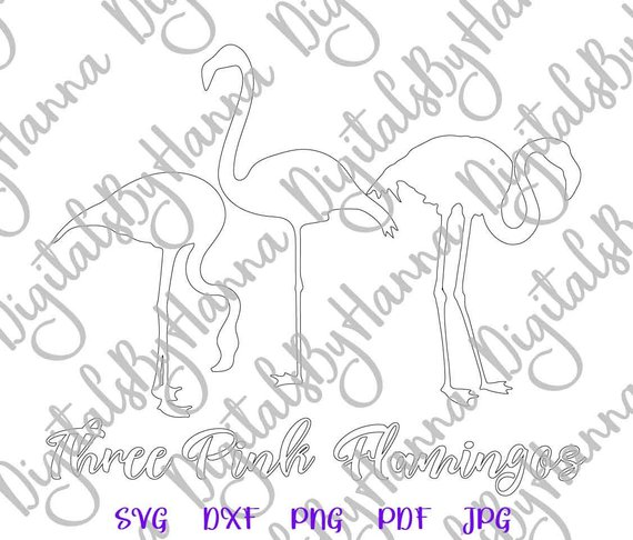 Flamingo SVG Tropical Clipart 3 Bag Sign Print Silhouette Dxf