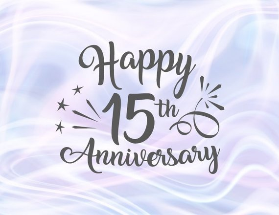 Happy 15th Anniversary SVG Crystal Wedding Fifteen Years Gift Greeting Invitation