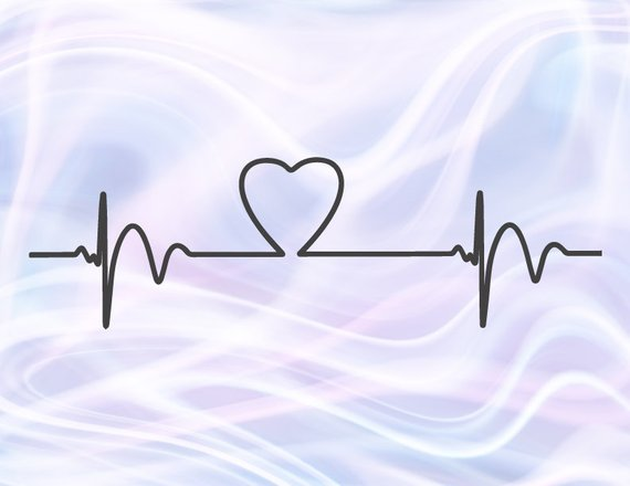 Heartbeat SVG Ekg Heart Beat Cardiogram Clipart Pulse Rhythm Monitor Graphic Print