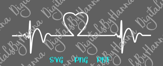Heartbeat SVG Files for Cricut Ekg SVG Heart Vector Clipart Pulse Rhythm Monitor