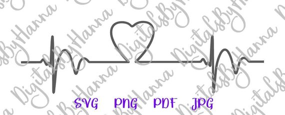 Heartbeat SVG Heart Beat Cardiogram Pulse Rhythm Monitor Graphic Print