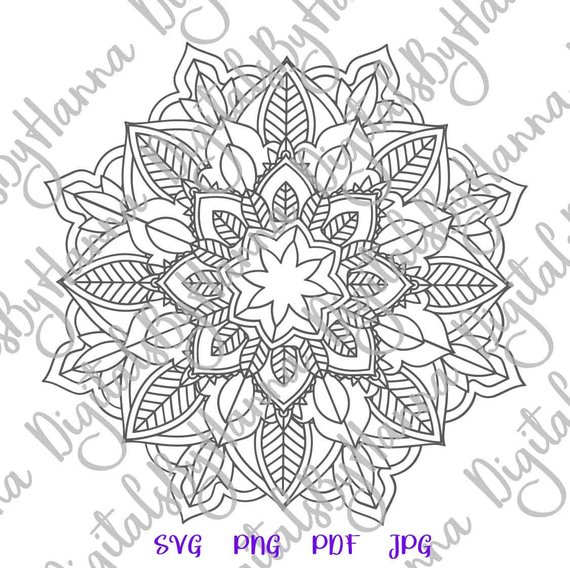 Mandala SVG Circle Tumbler Laptop Mac Print Design Dxf Laser Cut