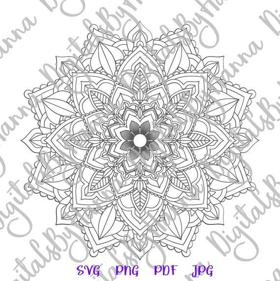 Mandala SVG Pochoir Mandala Stencil Print Design Silhouette Dxf Laser Cut
