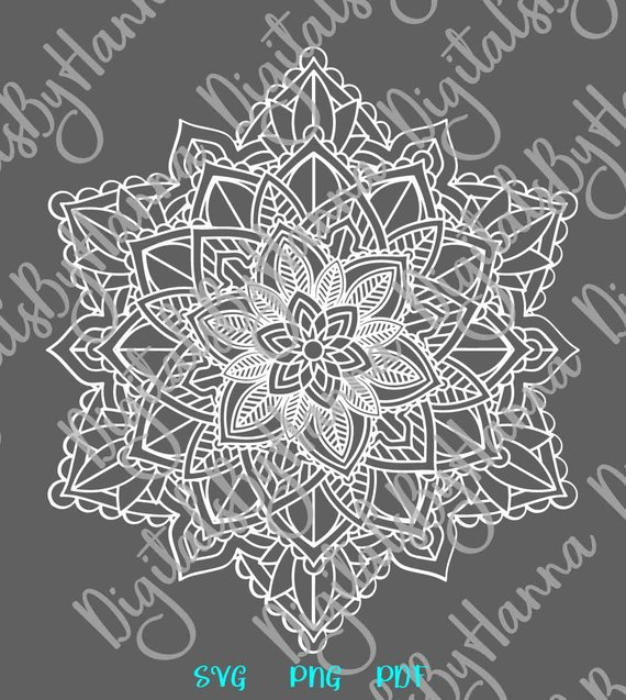Mandala SVG Zentangle Pochoir Stencil Woman Macbook Sticker Print Design