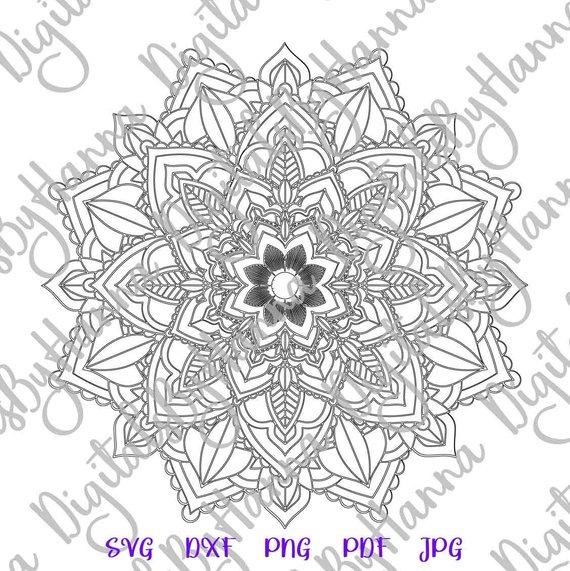 Mandala Stencil SVG Zentangle Circle Design Silhouette Dxf Laser Cut