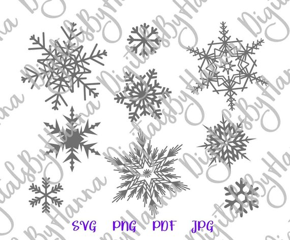 Snowflakes SVG Clipart Marry Christmas Happy New Year 2019 Print Decoration