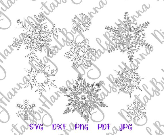 Snowflakes SVG Happy New Year Silhouette cut Circle Mandala