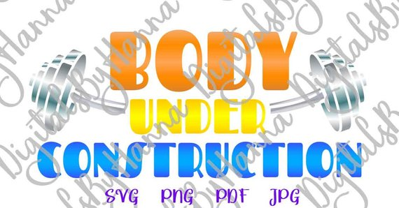 Crossfit SVG Body Under Construction Quote Gym Fitness Word Sign Workout Mug