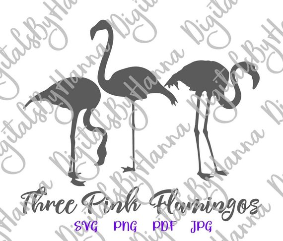 Flamingo SVG Tropical Clipart Pink Three Summer graphics t-Shirt Tee Mug Bag Sign Print