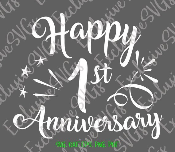 Happy 1st Anniversary SVG Cotton Wedding One Year Lettering Gift Clipart