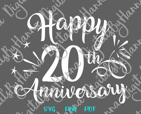 Happy 20th Anniversary SVG China Anniversary Lettering Wording Greeting Congrats Sign